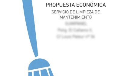 Ejemplo presupuesto de Limpieza de oficina: 84,30 €/mes + IVA
